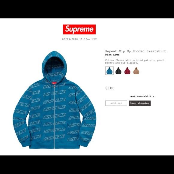 supreme sweaters repeat zip up hooded sweatshirt poshmark